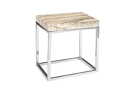 Onyx Side Table  Stainless Steel Base
