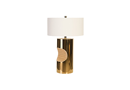 Bite Table Lamp Plated Brass Finish, White Shade