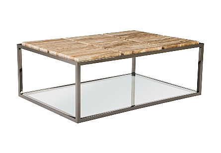 Onyx Coffee Table Six Squares, Plated Black Nickel Base