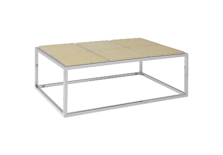 Crushed Acrylic Coffee Table 6 Squares, Stainless Steel Frame