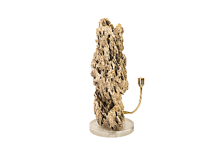 Stalagmite Lamp Polished Brass MD, Glass Base, Assorted Size and Shape