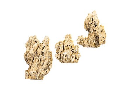 Stalagmite Wall Art Plated Brass Set of 3,  Assorted Size and Shape