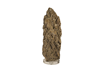 Stalagmite Sculpture Natural LG, Glass Base,  Assorted Size and Shape
