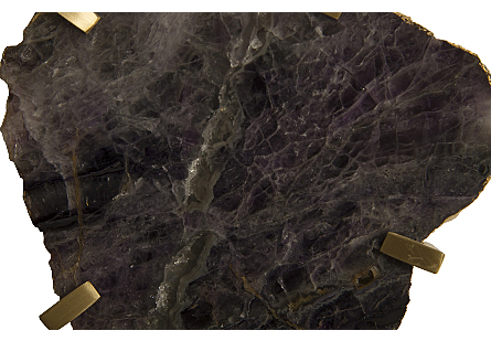 Gem Wall Tile in Brass Setting Purple Quartz