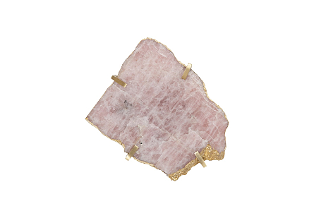 Gem Wall Tile in Brass Setting Rose Quartz