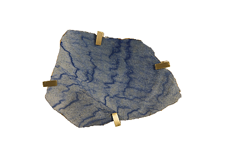Gem Wall Tile in Brass Setting Blue Opal