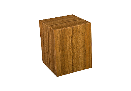 Dark Wood Grain Marble Stool