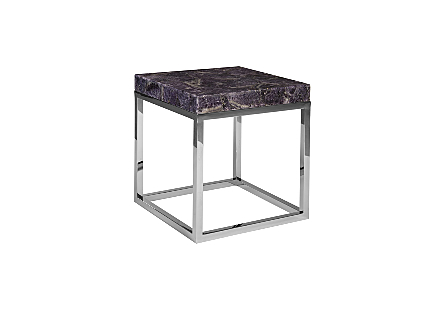 Amethyst Side Table Stainless Steel Base