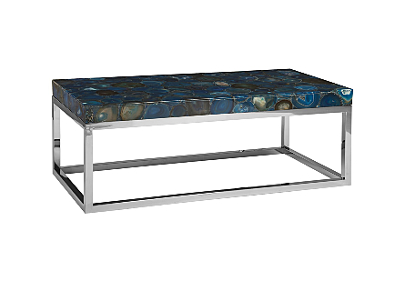 Agate Coffee Table Stainless Steel Base