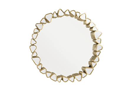 front view of the Phillips Collection Pebble Round Mirror made of organically shaped pieces of mirror encased in metal in a brushed brass finish