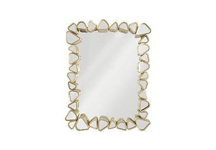 front view of the Phillips Collection Pebble Rectangle Mirror made of organically shaped pieces of mirror encased in metal in a brushed brass finish