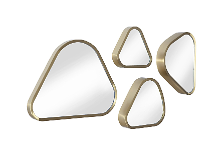 Pebble Mirrors Set of 4, Brushed Brass