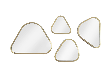 front view of the Phillips Collection Pebble Mirror Set made of organically shaped pieces of mirror encased in metal in a brushed brass finish