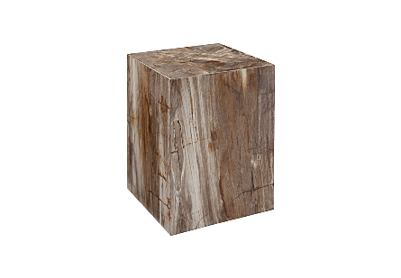Petrified Wood Square Stool Engineered, Light
