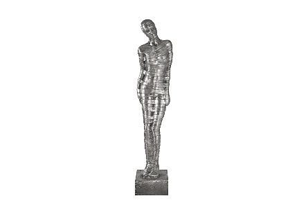 front view of the Phillips Collection Ribboned Woman Leaning Left Sculpture a silver sculpture made of metal in a silver finish with black patina