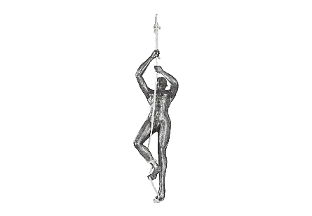 front view of the Climbing Figure Sculpture by Phillips Collection a silver decorative accessory made of metal in a silver finish with black patina
