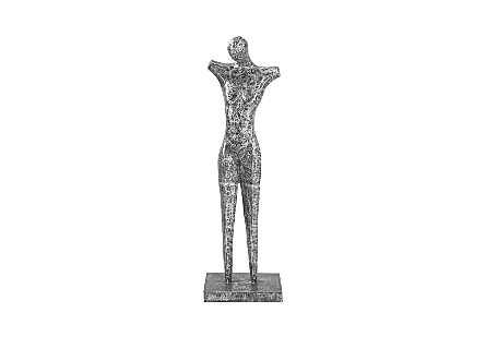front view of the Phillips Collection Abstract Male Silver Sculpture a silver decorative sculpture with patina