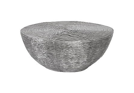 front view of the Phillips Collection Ripple Gray Coffee Table with a striated surface made of aluminum in a mix of black and silver finishes