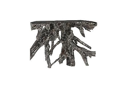 Teak Root Console Table Black Wash