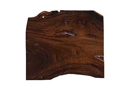 Suar Wood Coffee Table Black Metal Legs
