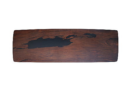 Origins Dining Table, Straight Edge Natural, Black Metal Legs