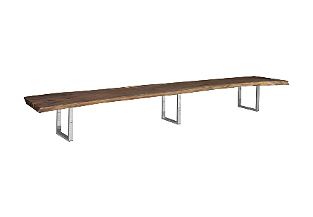 Suar Wood Dining Table Brushed Stainless Steel Legs