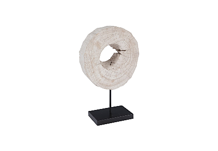 Eroded Wood Circle Sculpture on Stand , Assorted