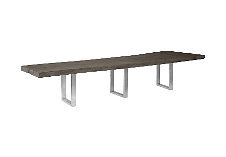 Origins Dining Table, Live Edge, Gray, Brushed Stainless Steel Legs