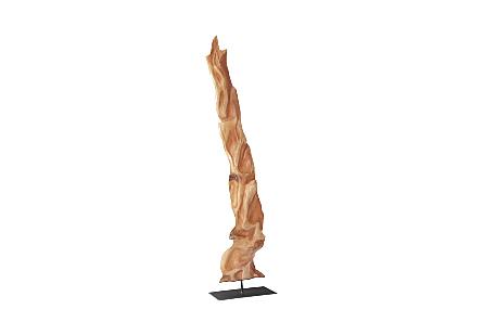 Mahogany Wood Sculpture Metal Base