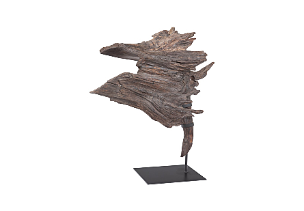 Wood Sculpture on Metal Base