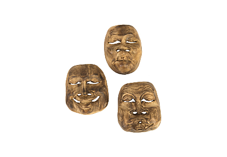 Indonesian Masks, Set of 3, Teak Wood, Assorted