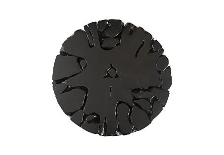 Teak Slice Coffee Table Round, Black Finish