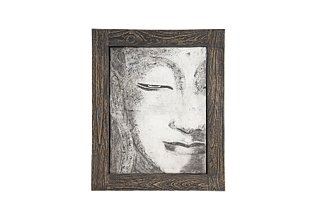 Antique Concrete Buddha Relief Wall Art Looking Straight
