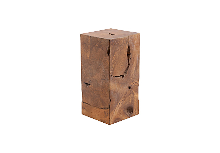 angled view of the Phillips Collection Teak Slice Small Square Pedestal which is made of organic shaped scrap pieces of teak wood that are hand assembled