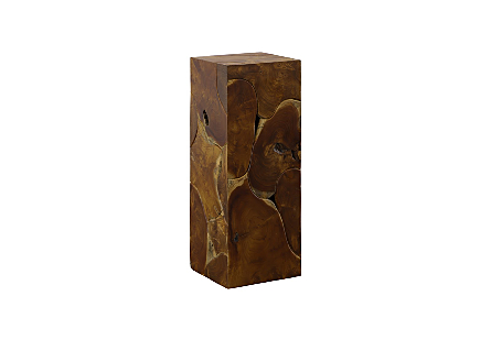 angled view of the Phillips Collection Teak Slice Medium Square Pedestal which is made of organic shaped scrap pieces of teak wood that are hand assembled
