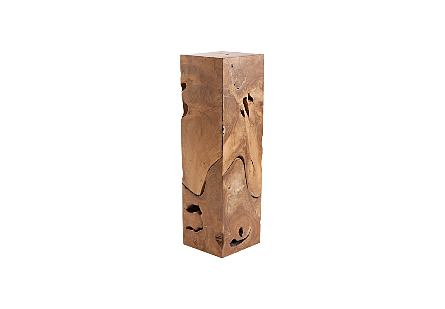 angled view of the Phillips Collection Teak Slice Large Square Pedestal which is made of organic shaped scrap pieces of teak wood that are hand assembled