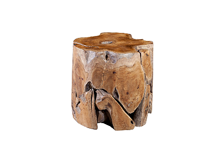 front view of the Phillips Collection Teak Slice Round Stool which is made of organic shaped scrap pieces of teak wood that are hand assembled