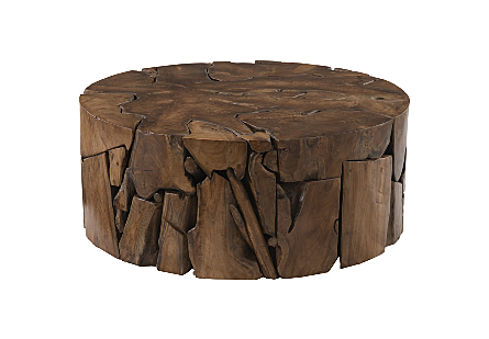 Teak Slice Coffee Table Round