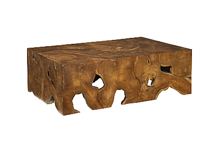 angled view of the Phillips Collection Teak Slice Rectangular Coffee Table which is made of organic shaped scrap pieces of teak wood that are hand assembled