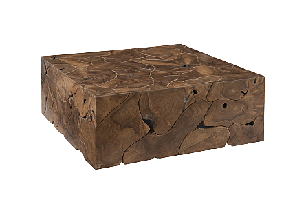 angled view of the Phillips Collection Teak Slice Square Coffee Table which is made of organic shaped scrap pieces of teak wood that are hand assembled