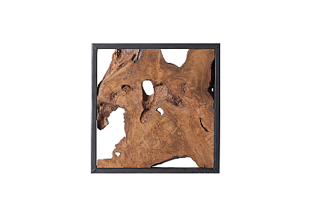 Framed Slice Wall Tile, Teak Wood, Black Frame