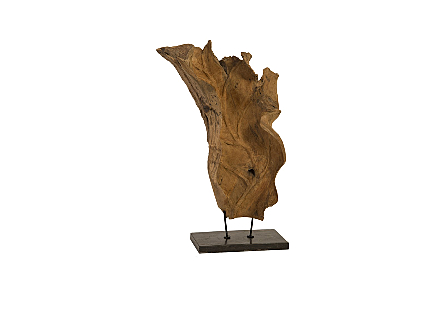 Wood Abstract Art Decoration Marble Base