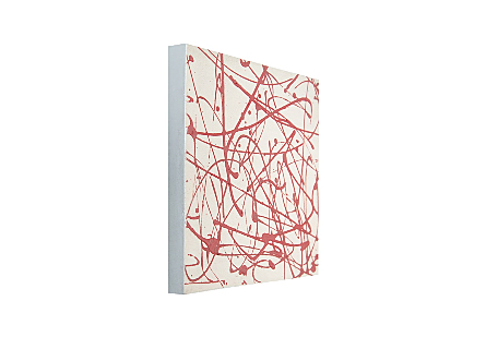 Virza Abstract Painting White on Red