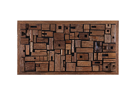 front view of Phillips Collection Asken Large Wall Art which is made of irregular pieces of wood that have been artistically placed by hand into the frame
