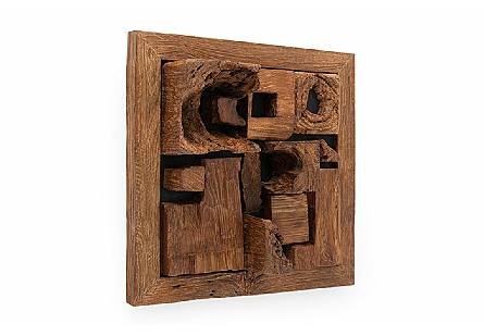 angled view of Phillips Collection Asken Wall Tile which is made of irregular pieces of wood that have been artistically placed by hand into the frame