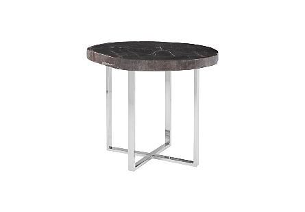 Petrified Side Table Round, SS Base