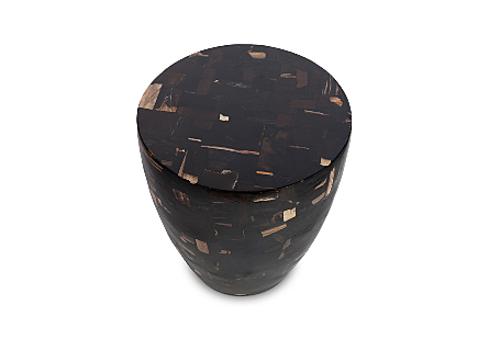 Petrified Wood Mosaic Drum Side Table Dark