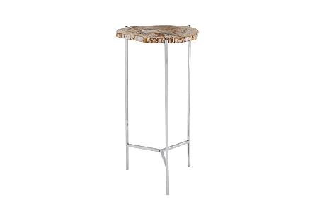 Petrified Wood Beverage Table Off White, MD