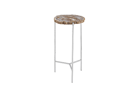 Petrified Wood Beverage Table Off White, SM
