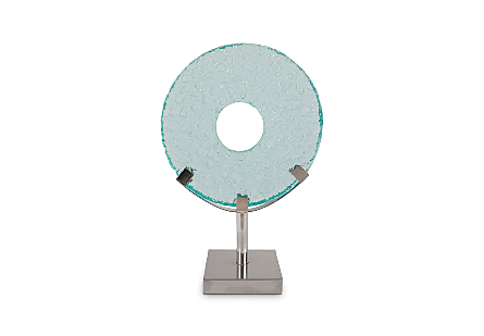 Lifesaver Sculpture Bubble Glass, Stainless Steel Base